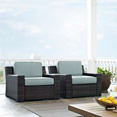 Beaufort Wicker Outdoor Seating Set with Mist Cushion (2-Piece)