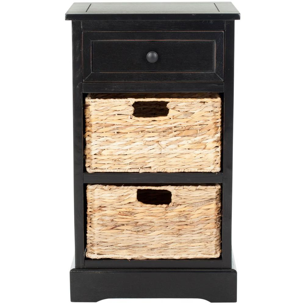 Carrie Distressed Black Storage Side Table
