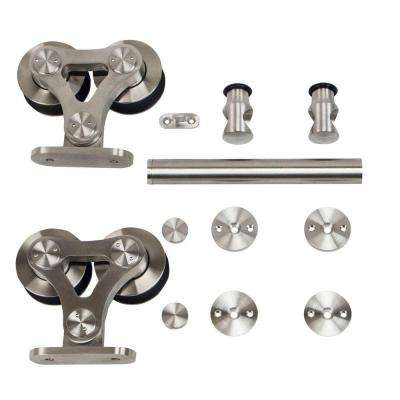 Stainless Steel Top Mount Dual Wheel Rolling Door Hardware for Wood Doors
