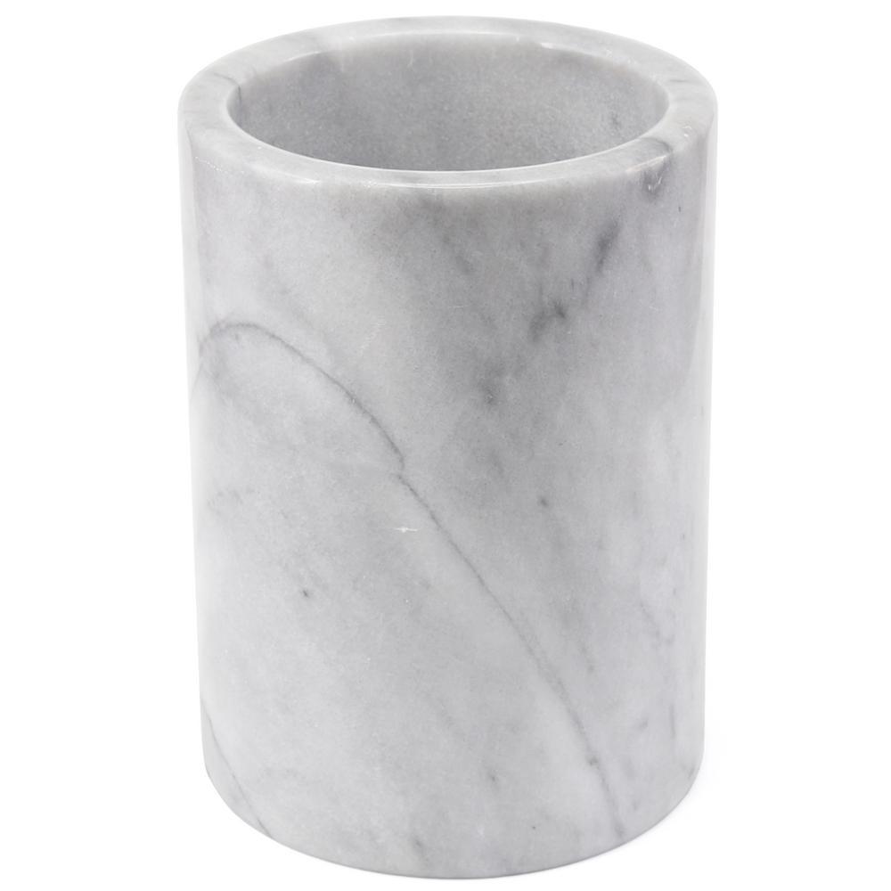 Natural White Marble Tool Crock, Utensil Holder