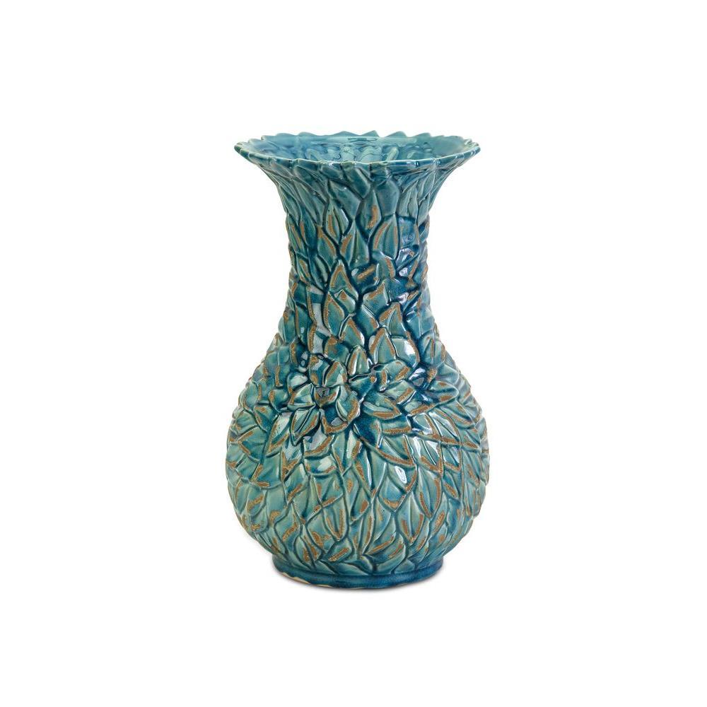 Filament Design Lenor 15 in. Ceramic Decorative Vase in Aqua
