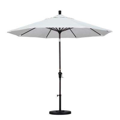 9 ft. Bronze Aluminum Pole Market Aluminum Ribs Auto Tilt Crank Lift Patio Umbrella in Natural Sunbrella