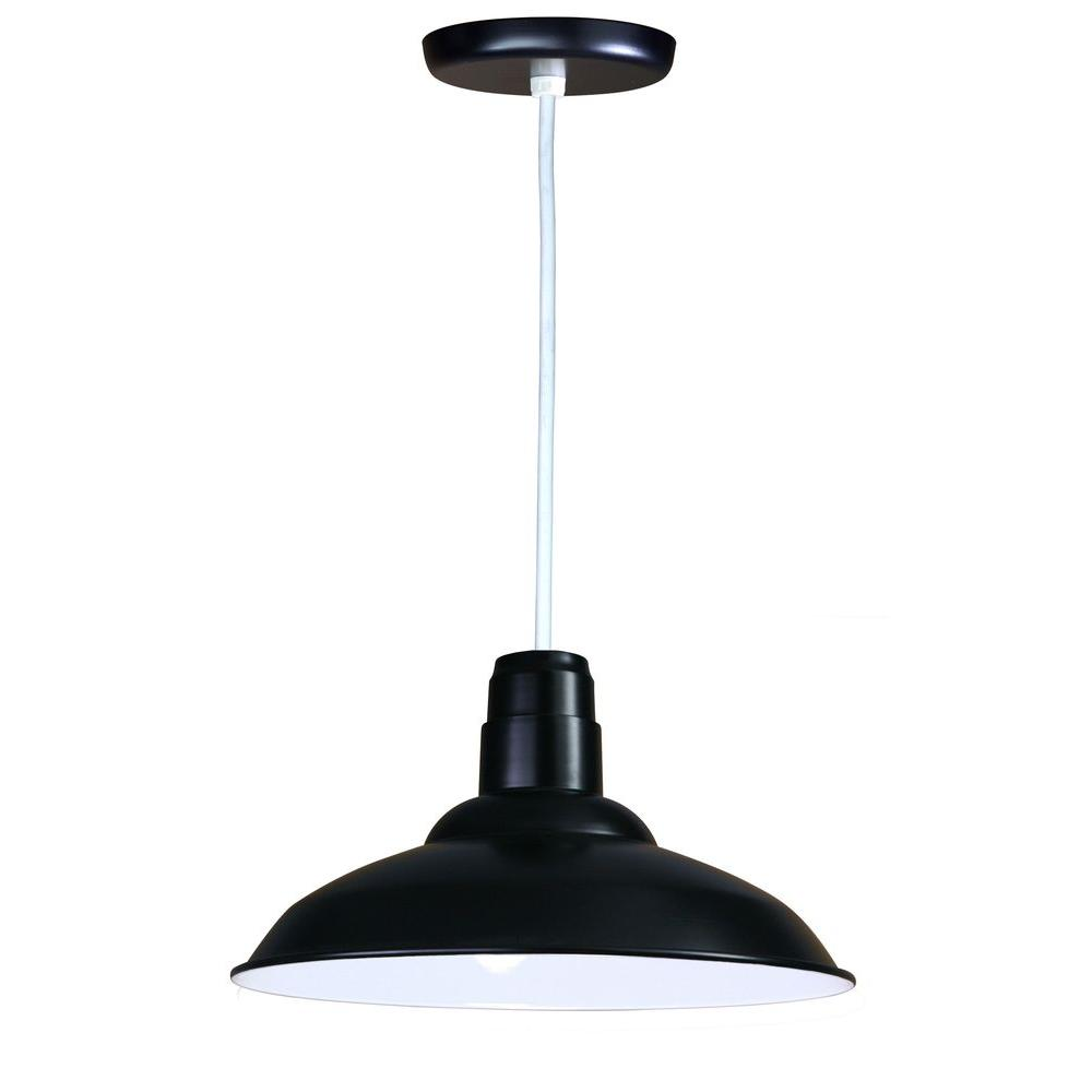 1-Light Ceiling Black Pendant