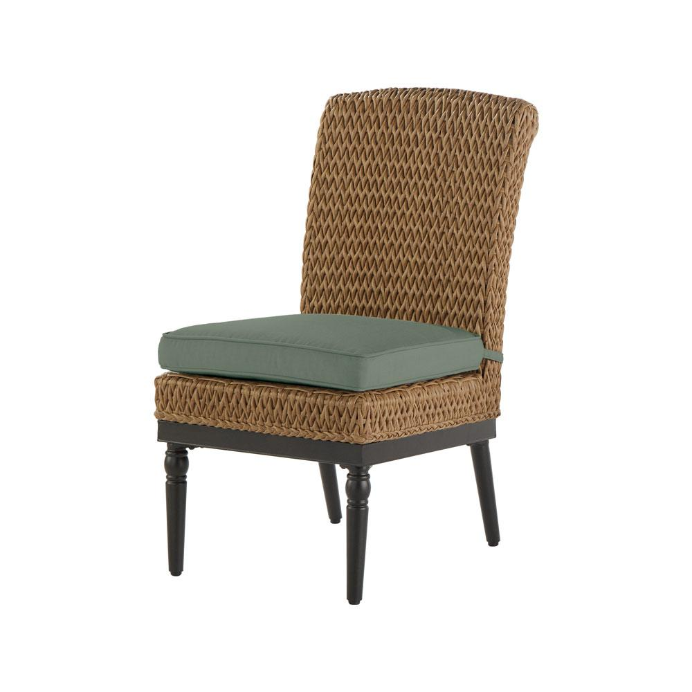 Home Decorators Collection Camden Light Brown Wicker Outdoor Armless Dining  Chair With Sunbrella Canvas Spa Cushion