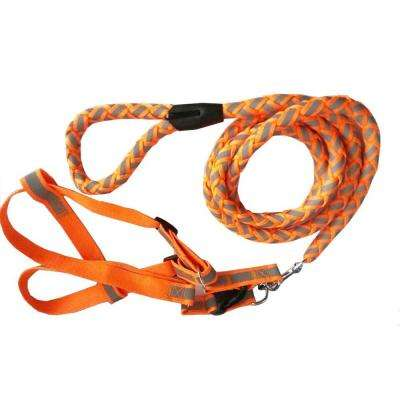 Medium Neon Orange Reflective Stitched Easy Tension Adjustable 2-in-1 Dog Leash and Harness