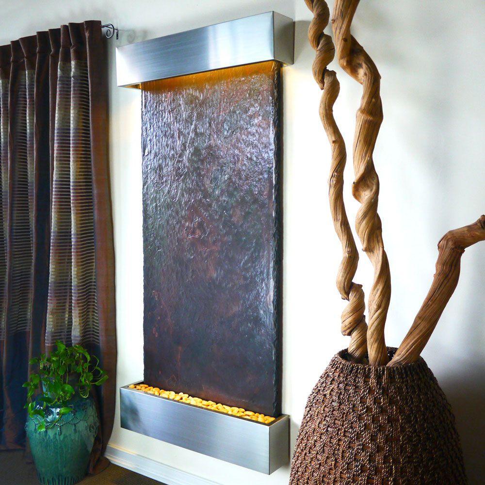 Grande Nojoqui Falls Lightweight Slate Wall Fountain in Stainless Steel Trim