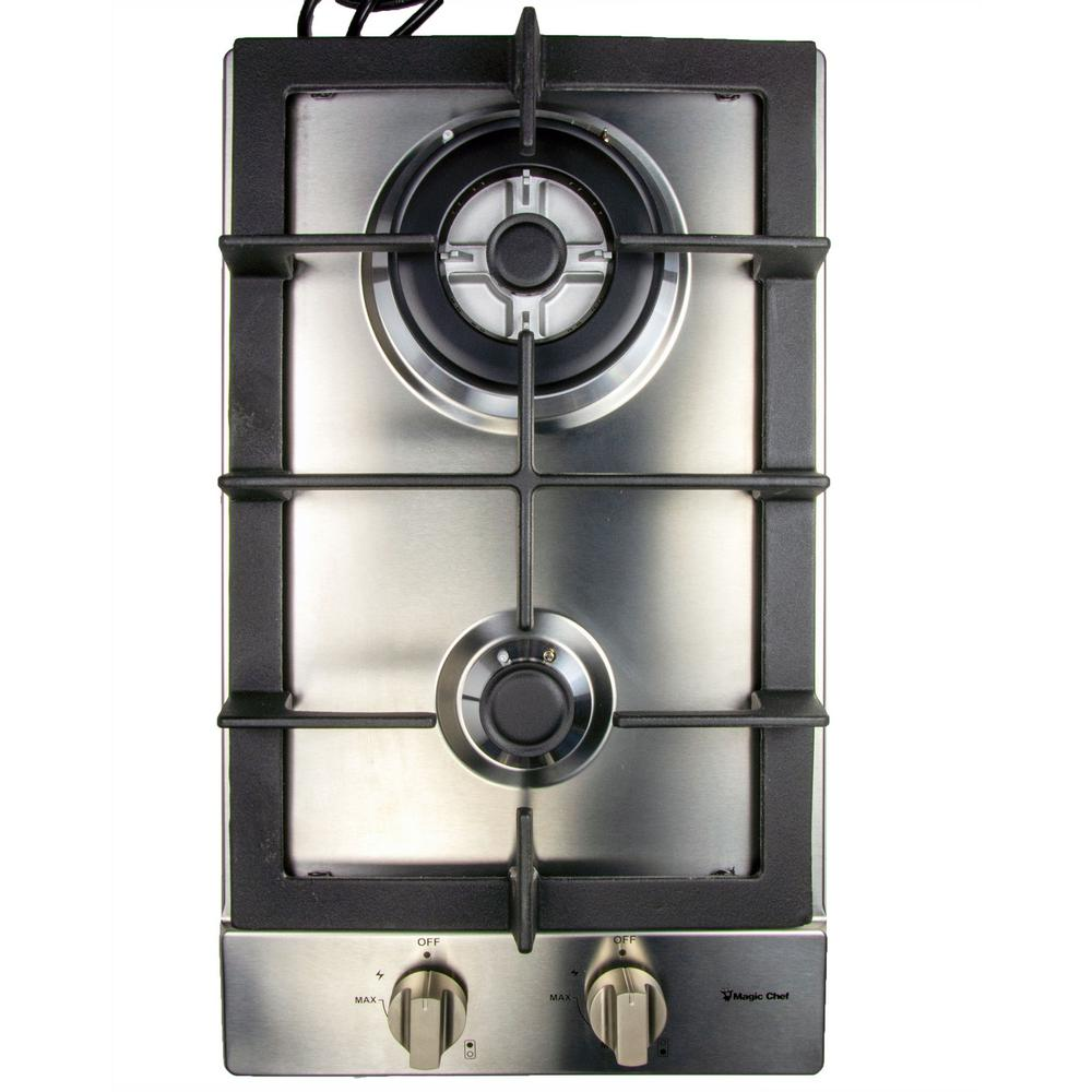 Magic Chef 12 in. Gas Cooktop in Stainless Steel with 2 Burners Including Triple Ring Burner