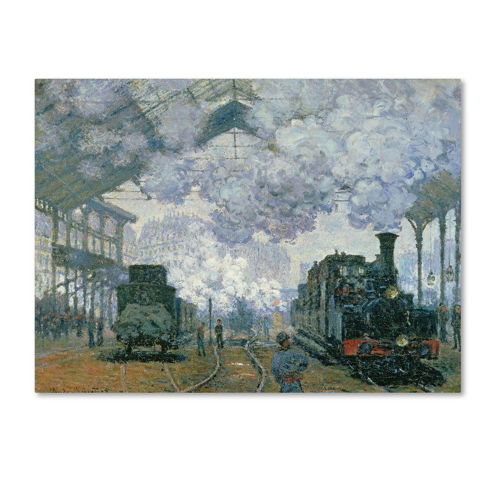 Trademark Fine Art 35 in. x 47 in. Gare Saint-Lazare Arrival of a Train Canvas Art