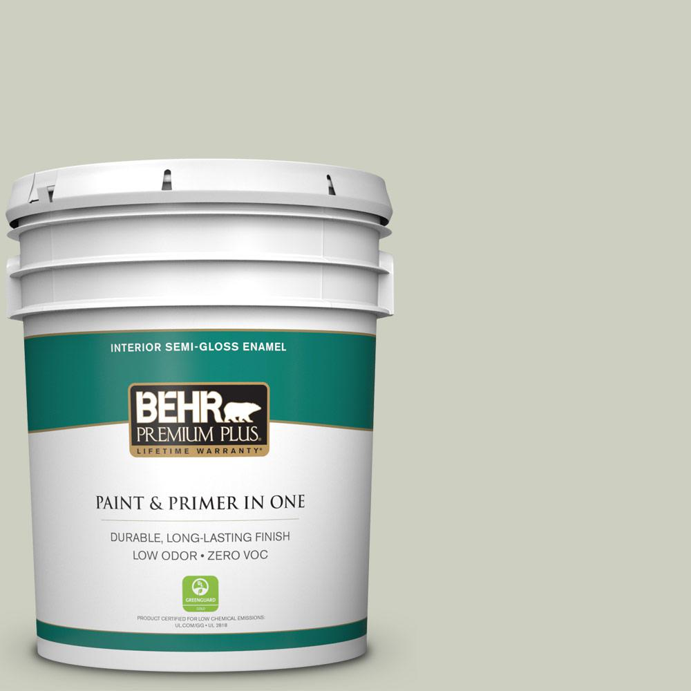 5 gal. #PPU10-11 Sliced Cucumber Zero VOC Semi-Gloss Enamel Interior Paint