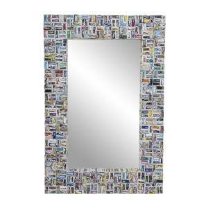 Litton Lane Rectangular Colorful Abstract Art Wall Mirror