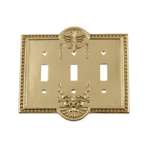 Nostalgic Warehouse Meadows Switch Plate with Triple Toggle in Polished Brass by Nostalgic Warehouse