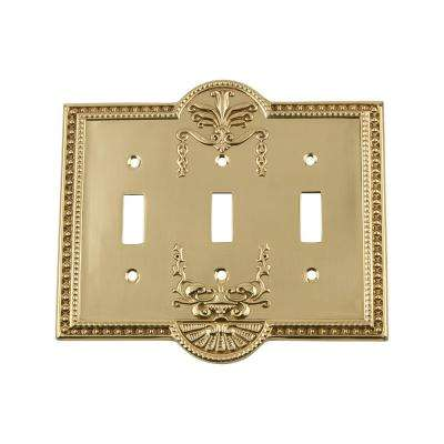 Meadows Switch Plate with Triple Toggle in Polished Brass