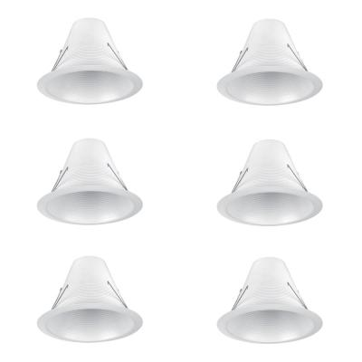 6 in. White Airtight Recessed Can Light Baffle Trim (6-Pack)