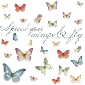 bc65032a6 RoomMates 5 in. x 11.5 in. Lisa Audit Butterfly Quote 28-Piece Peel ...