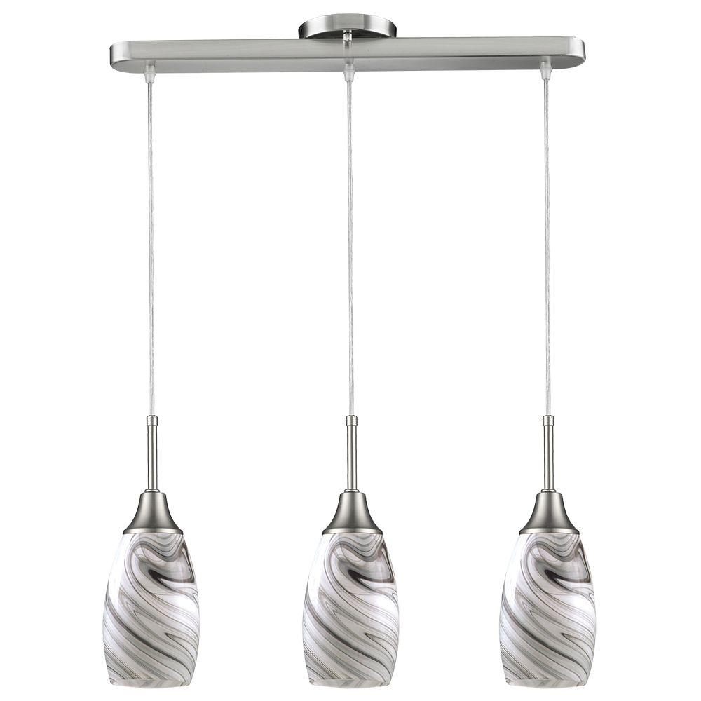 Kitchen Hanging Pendant Light Oval 3-Glass Grey Shade