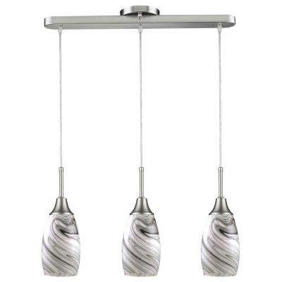 Elegant Peak Collection 3 Light Grey And Nickel Pendant