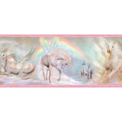 Farewell Pink Unicorn Dreams Portrait Wallpaper Border Sample