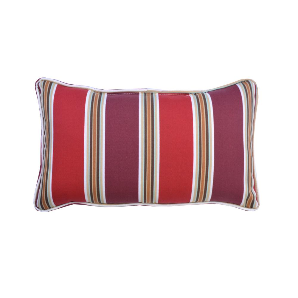 Hampton Bay Chili Stripe Lumbar Outdoor Throw Pillow (2-Pack)