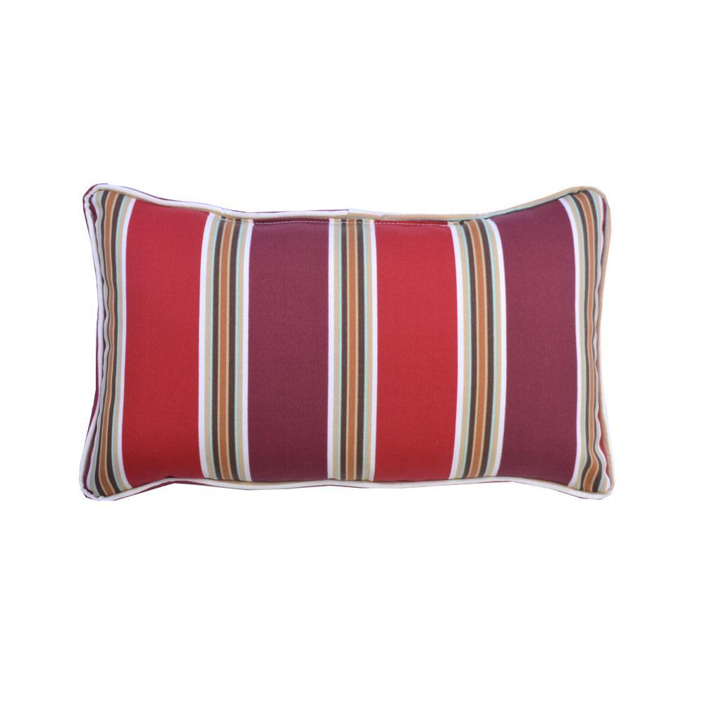 Chili Stripe Lumbar Outdoor Throw Pillow (2-Pack)
