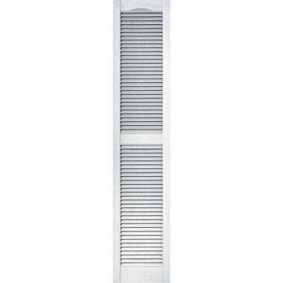 15 in. x 72 in. Louvered Vinyl Exterior Shutters Pair in #001 White