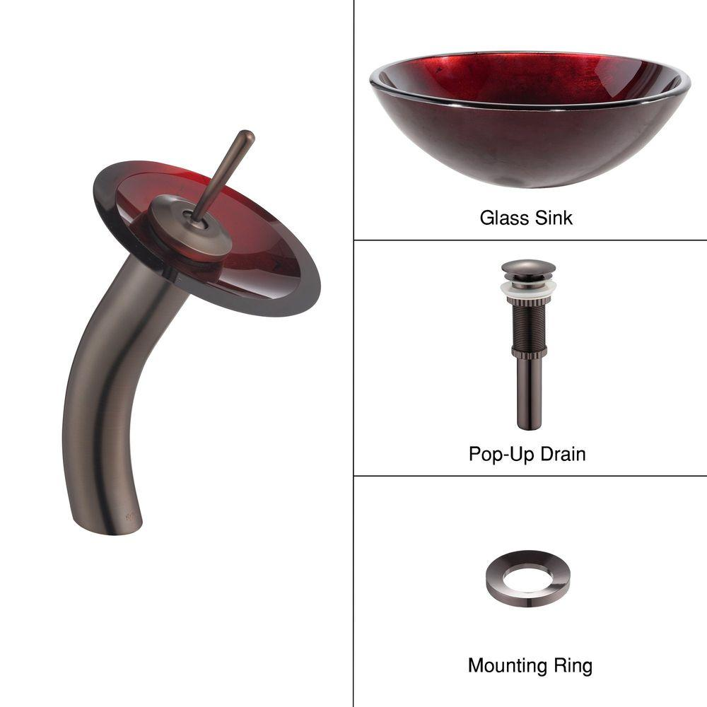KRAUS Irruption Glass Vessel Sink in Red with Single Hole Single-Handle Low-Arc Waterfall Faucet in Oil Rubbed Bronze