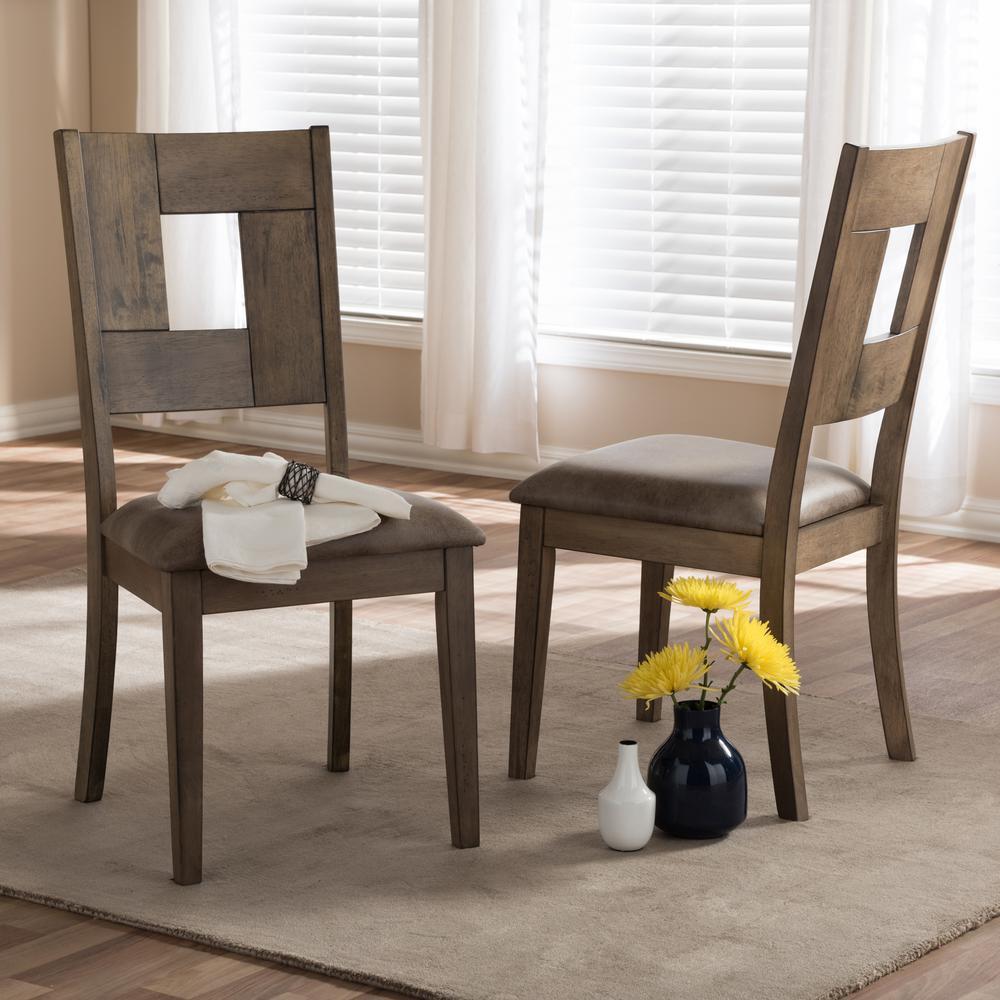 Baxton Studio Gillian Gray Wood Dining Chairs Set Of 2 2pc