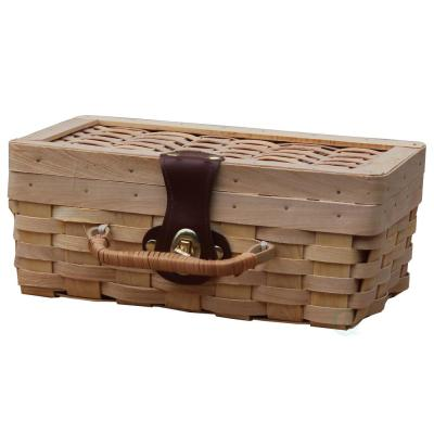10.2 in. W x 6 in. D x 4 in. H Woodchip Small Picnic Basket, Child's Private Picnic Basket