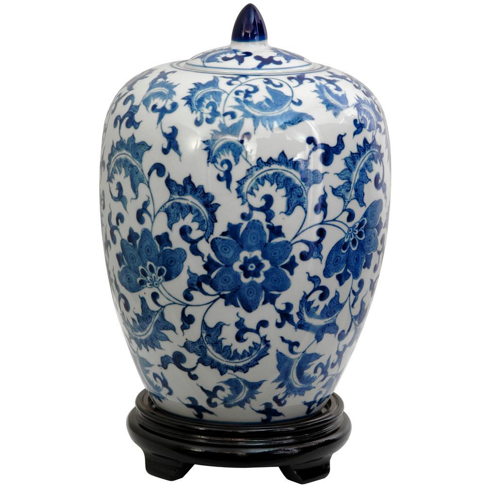 Oriental Furniture 11 in. Porcelain Decorative Vase in Blue