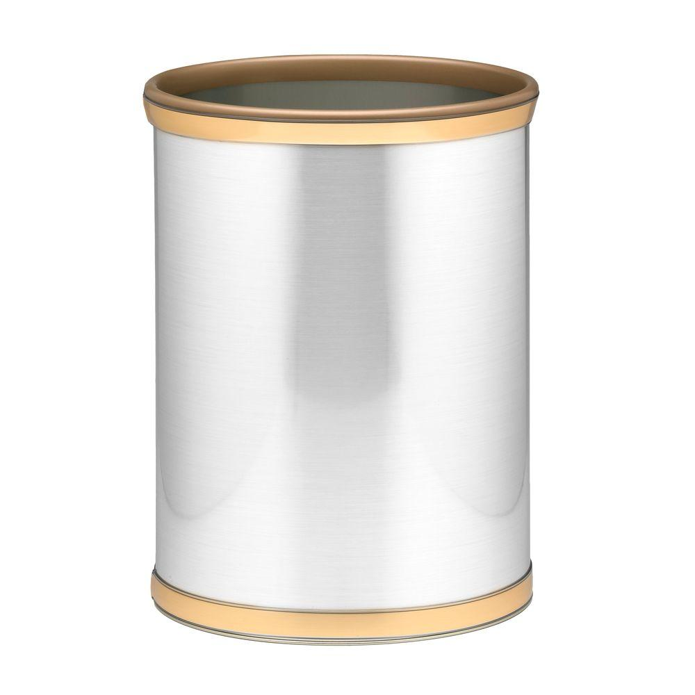 Kraftware Brushed Chrome and Brass Mylar Trash Can with 3/4 in. Brushed Brass Band and Gold Bumper