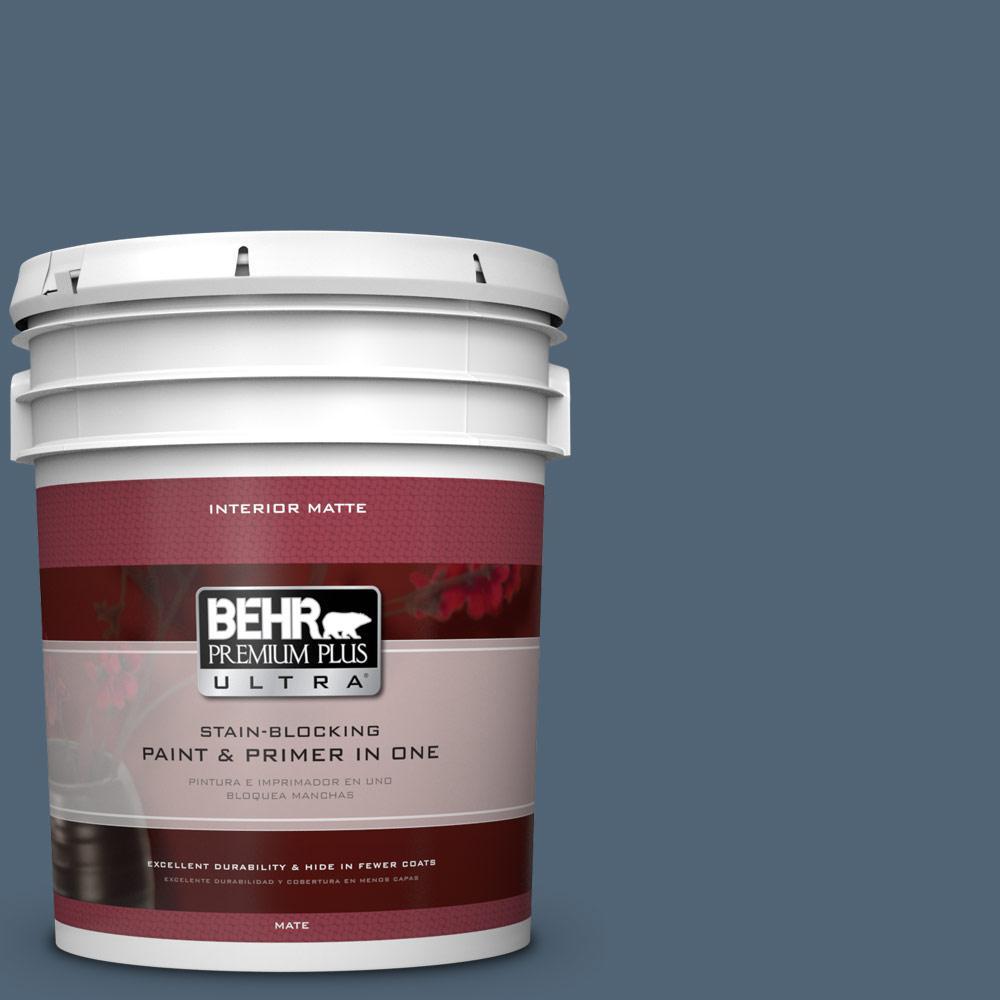 5 gal. #570F-6 Mood Indigo Matte Interior Paint and Primer in