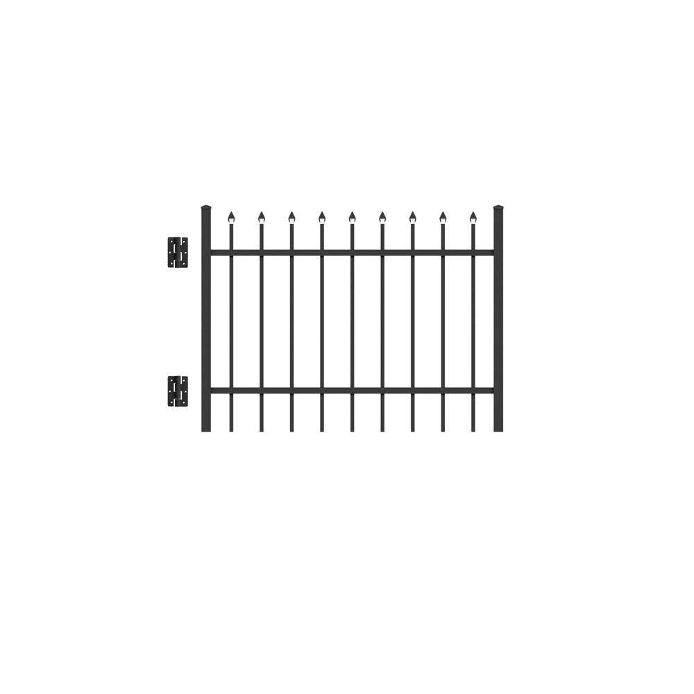 Cascade Standard-Duty 4 ft. x 3 ft. Black Aluminum Straight Pre-Assembled Fence Gate