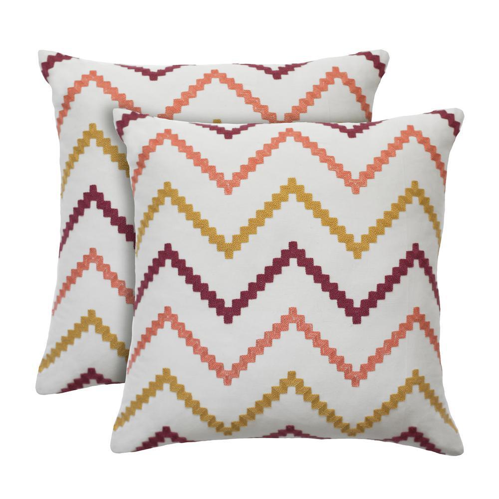 Wren 18 in. x 18 in. Sorbet Decorative Pillow (2-Pack)