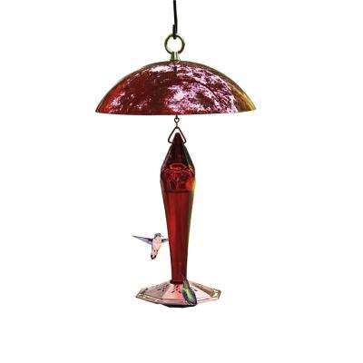 11.50 In. Tall Red Facets Glass Hummingbird Feeder
