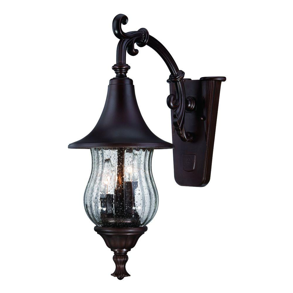 Del Rio Collection 3 Light Architectural Bronze Outdoor Wall Mount Light  Fixture