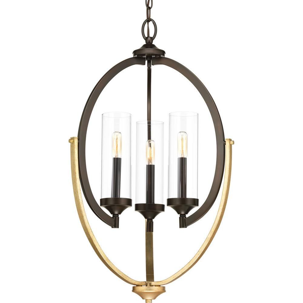 Evoke Collection 3-light Antique Bronze Chandelier with Clear Glass Shade