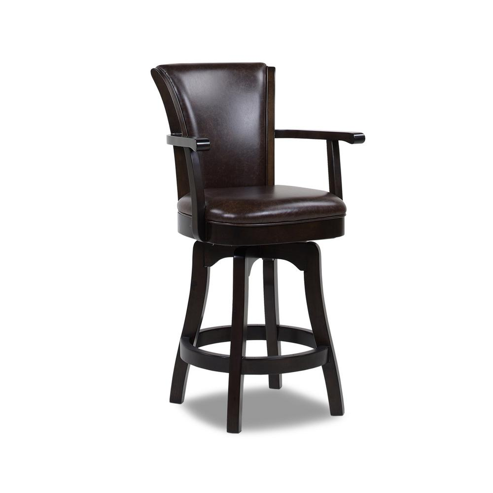 Williams 26 in. Swivel Counter Height Bar Stool, Vintage Brown Faux Leather