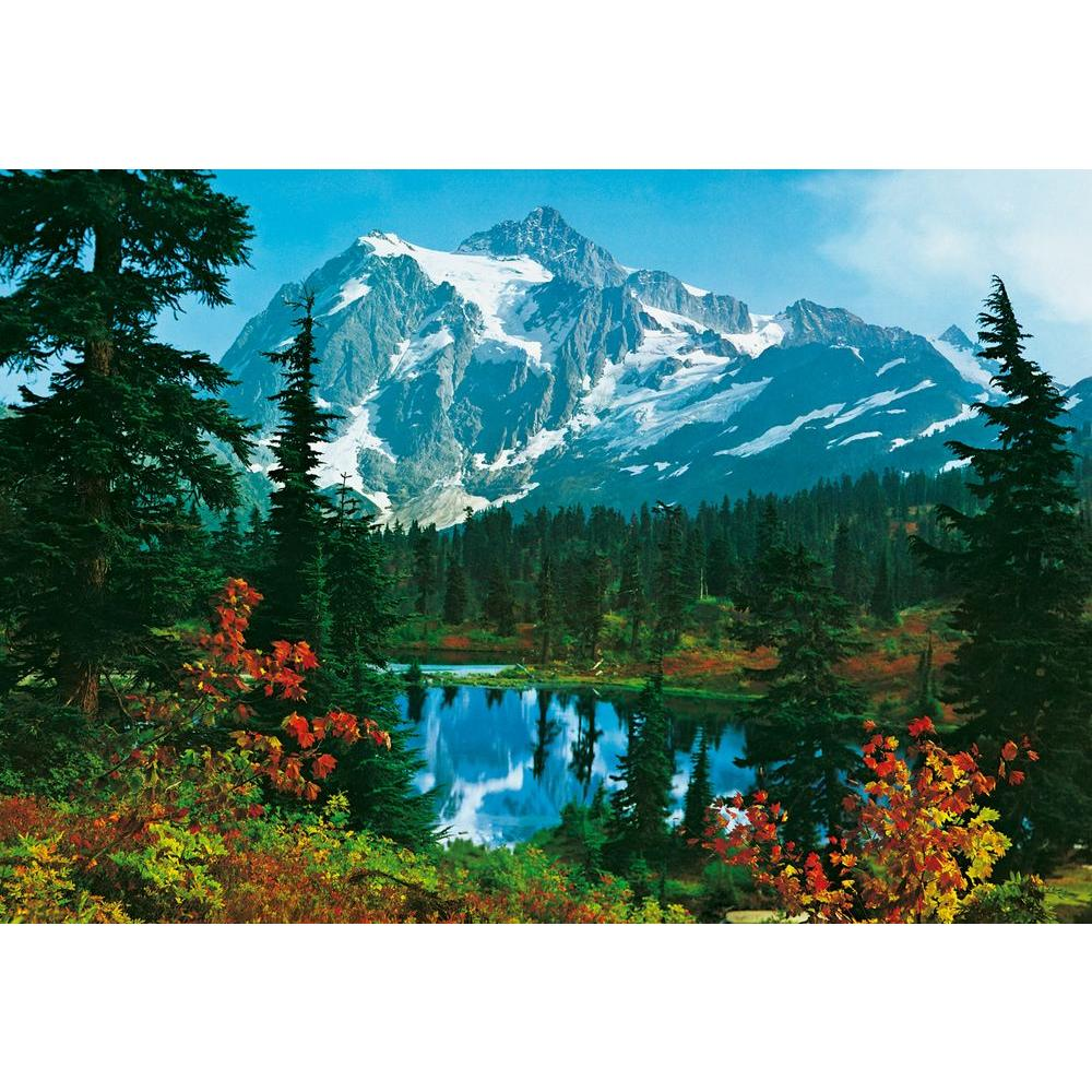 Ideal decor 100 in x 144 in mountain morning wall mural for Wall scenes
