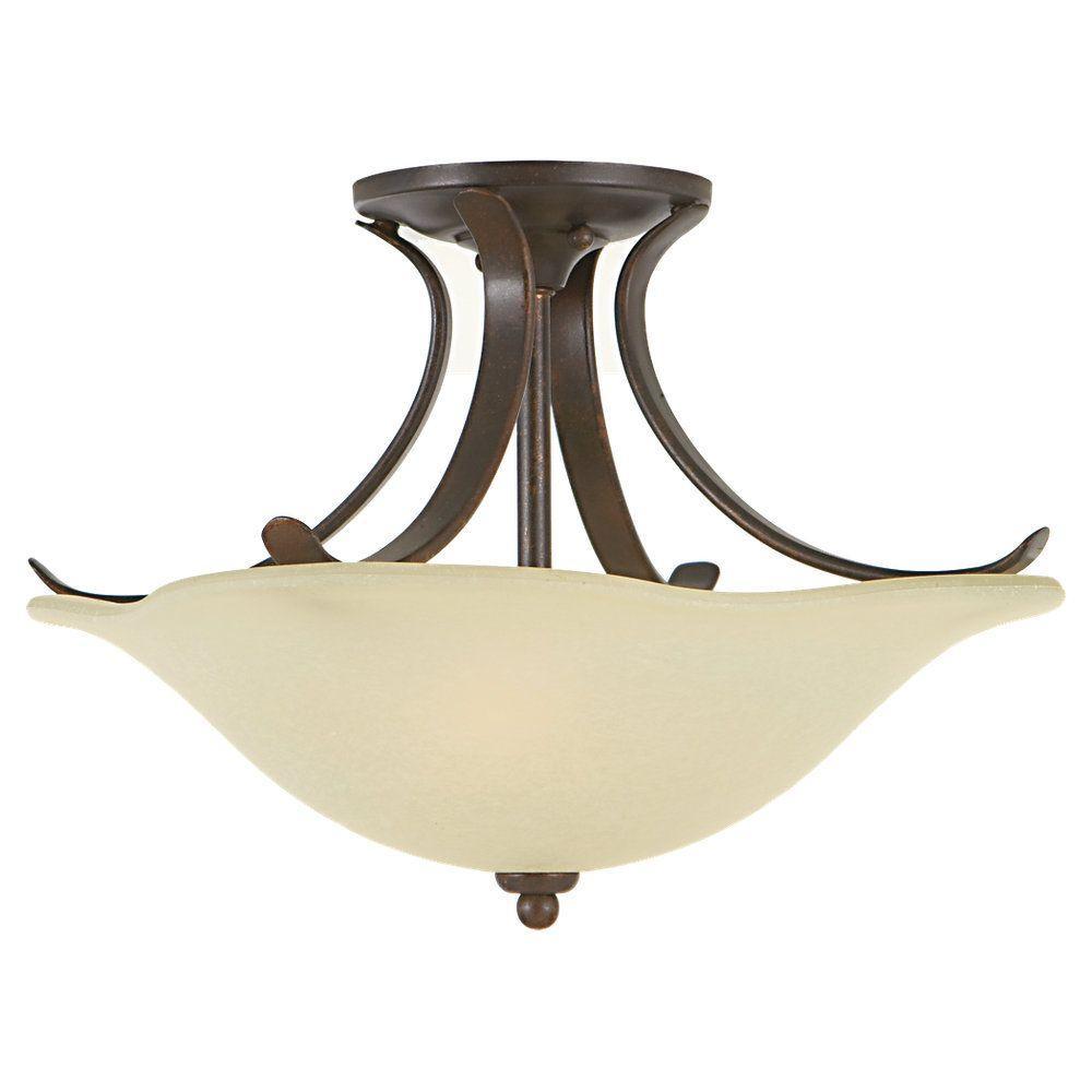 Morningside 2-Light Grecian Bronze Semi-Flush Mount Light