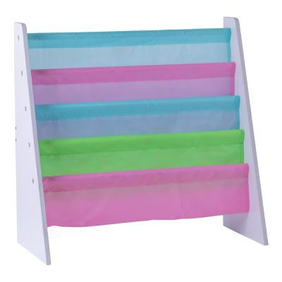 4 Tiered Colorful Lined Kids' Sling Magazine Book Rack