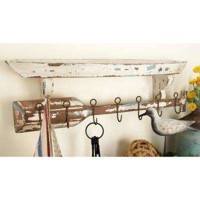 32 in. x 10 in. Nautical Dingy and Oar Wall Shelf and Hook