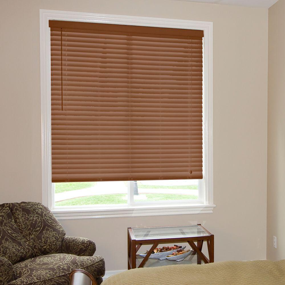Home Decorators Collection Cut-to-Width Golden Oak 2 in. Faux Wood Blind - 40.5 in. W x 64 in. L (Actual Size 40 in. W 64 in. L )