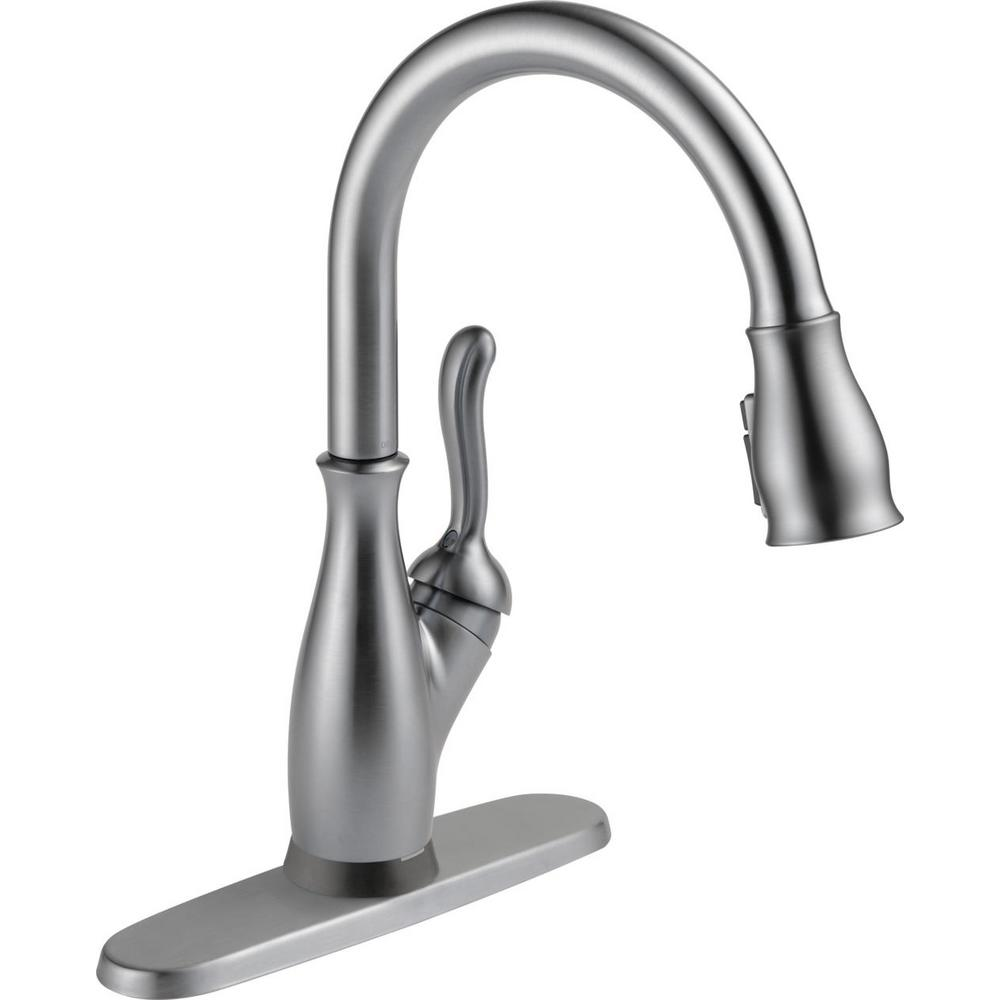 Delta Leland Single Handle Pull Down Sprayer Kitchen Faucet With Touch2o And Shieldspray Technology In Arctic Stainless