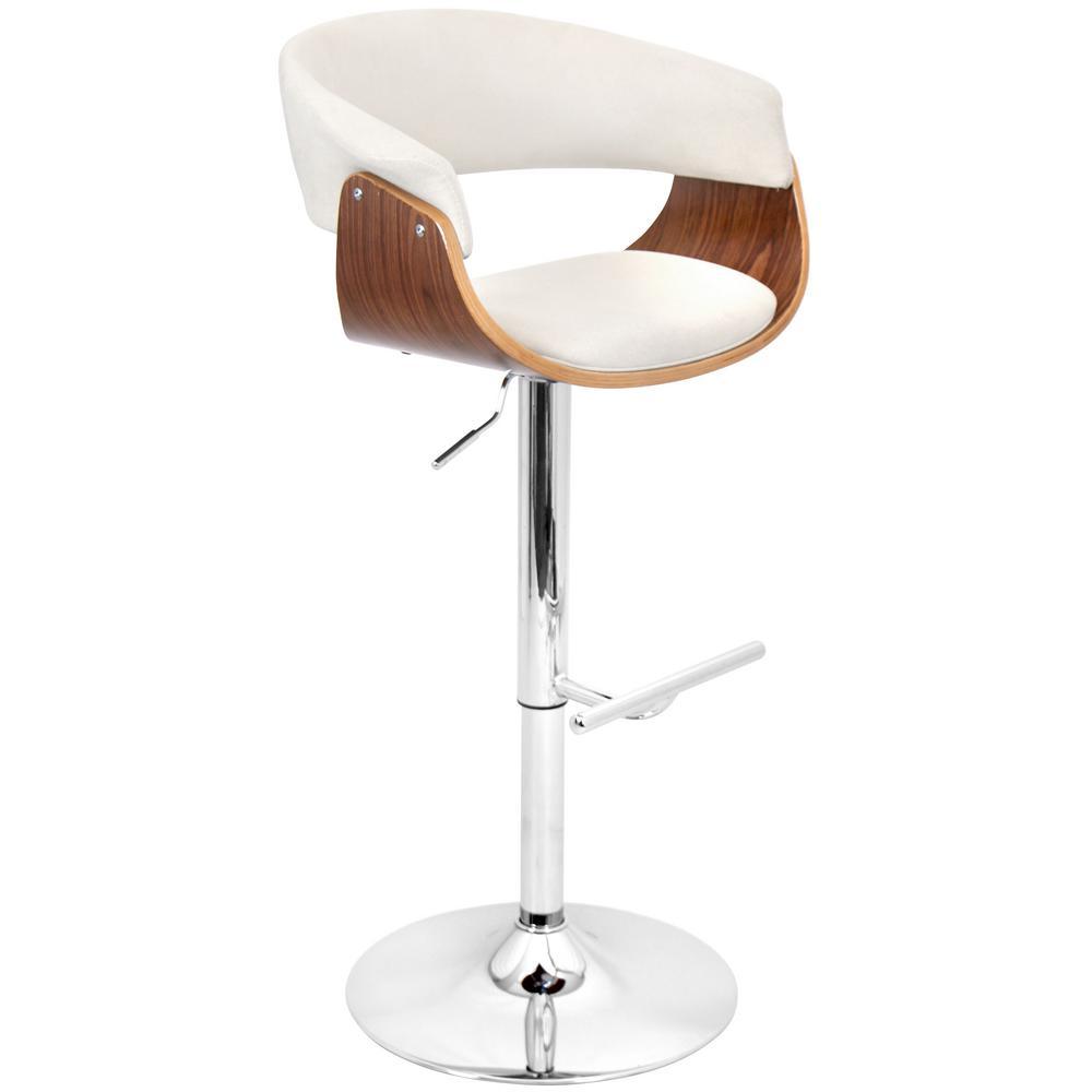 Vintage Mod Walnut and Cream Adjustable Barstool