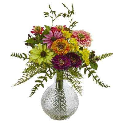 15 in. Mixed Flower in Glass Vase