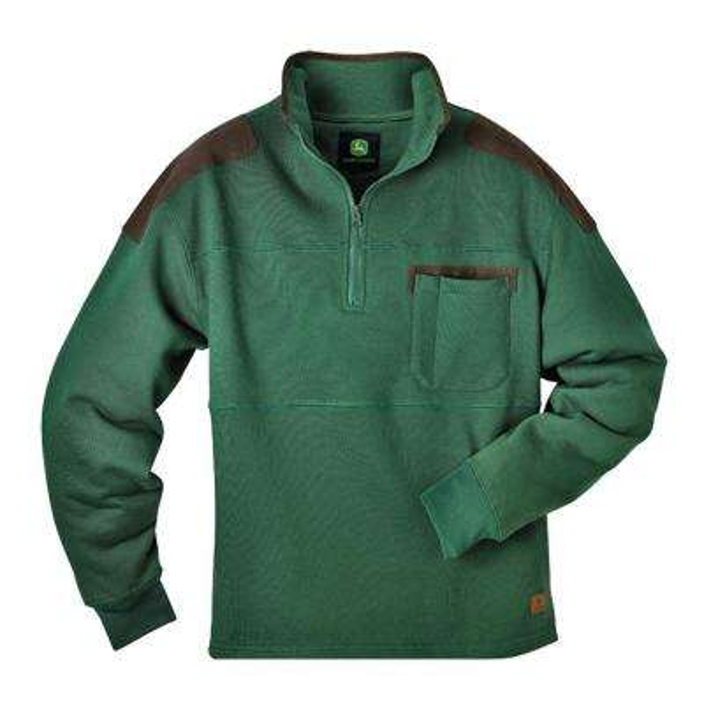 Heavyweight Fleece 1/4 Zip Large Regular Pullover in Green