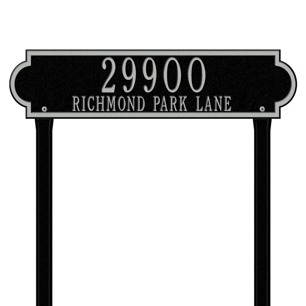 Richmond Rectangular Green/Gold Estate Lawn Two Line Horizontal Address Plaque