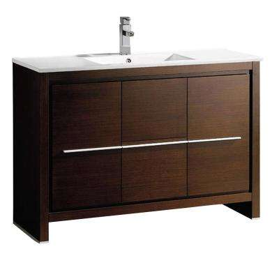 Allier 48 in. Bath Vanity in Wenge Brown with Ceramic Vanity Top in White with White Basin