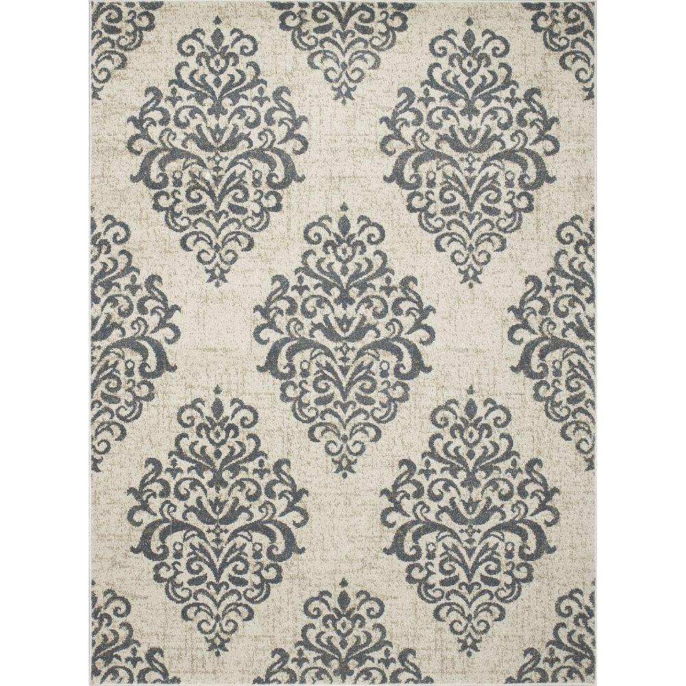 New Casa Damask Ivory/Blue 6 ft. 7 in. x 9 ft.