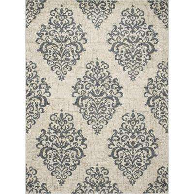 New Casa Damask Ivory/Blue 8 ft. x 11 ft. Area Rug
