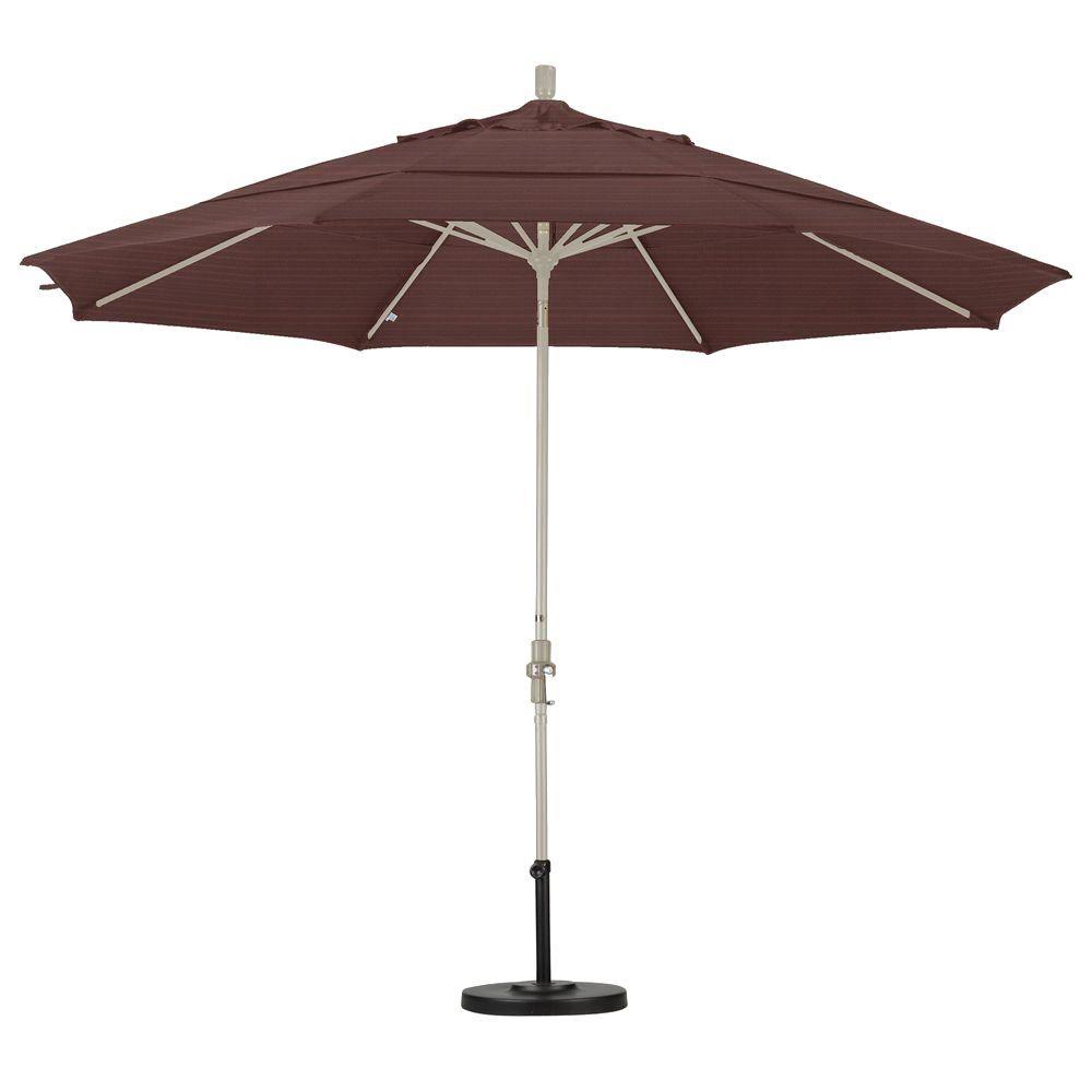 California Umbrella 11 ft. Fiberglass Collar Tilt Double Vented Patio Umbrella in Terrace Adobe Olefin